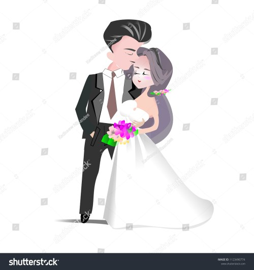 small resolution of wedding clipart vector illustration groom and bride cartoon character man in back suit and woman in white bridal gown for invitation card template