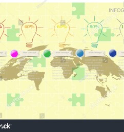 world map timeline vector infographics with icon and flow diagram for idea strategy concept vector [ 1500 x 1050 Pixel ]