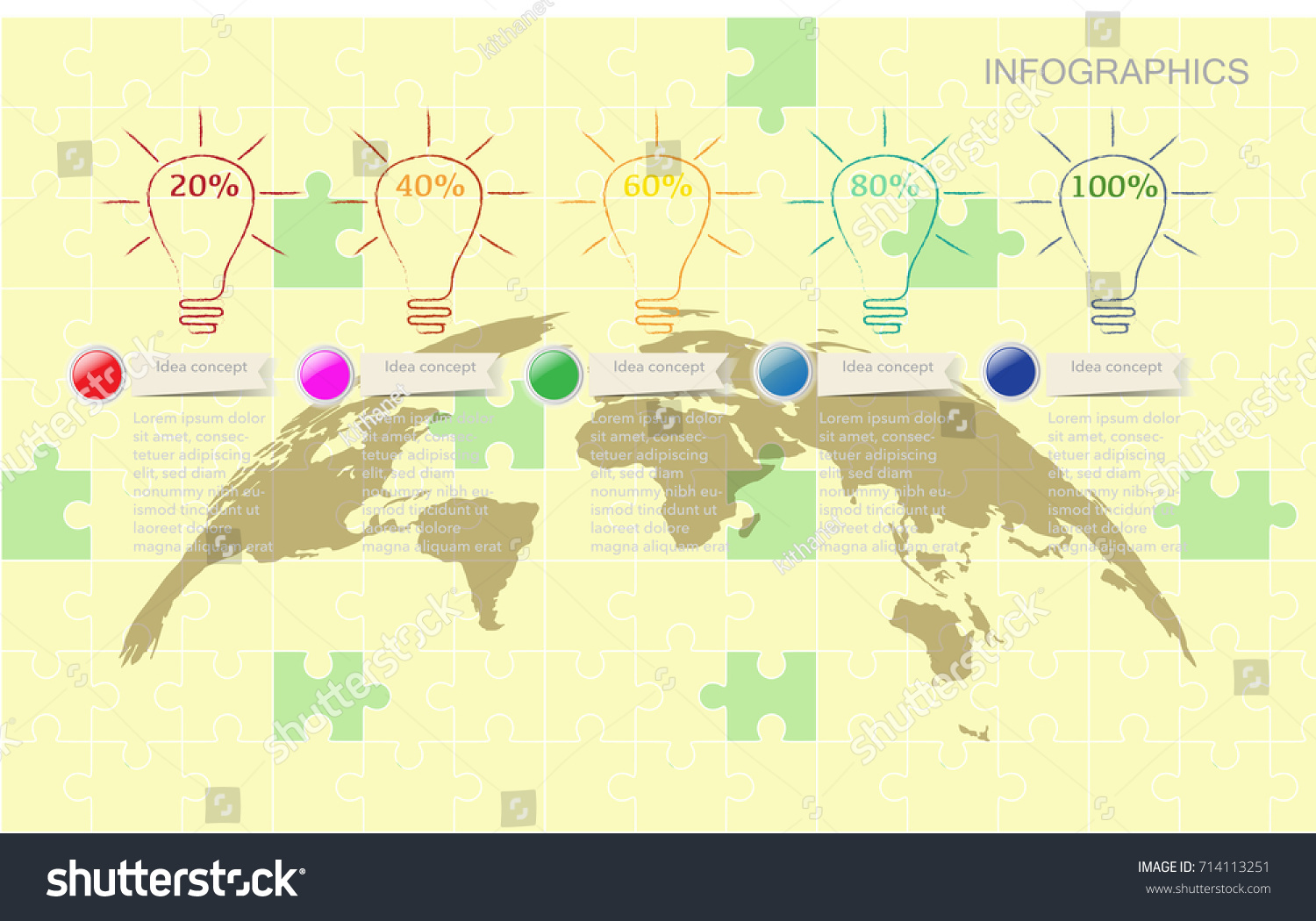 hight resolution of world map timeline vector infographics with icon and flow diagram for idea strategy concept vector