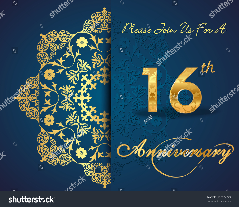 16 Year Anniversary Celebration Pattern Design 16th