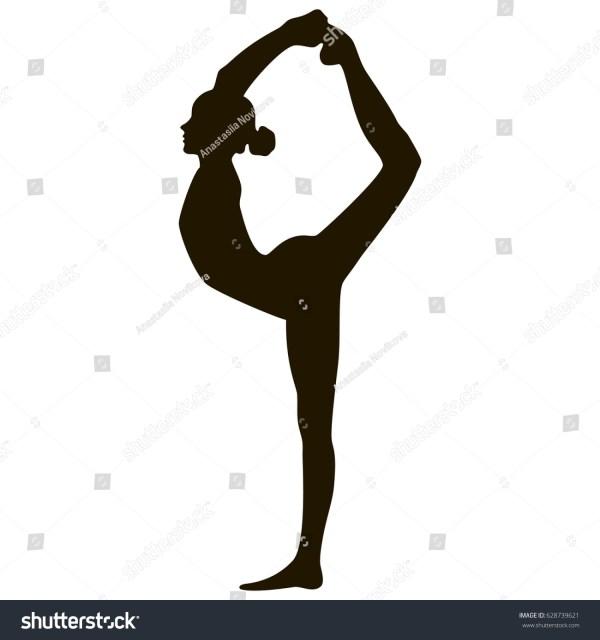 Yoga Girl Silhouette Black White Pose Stock Vector