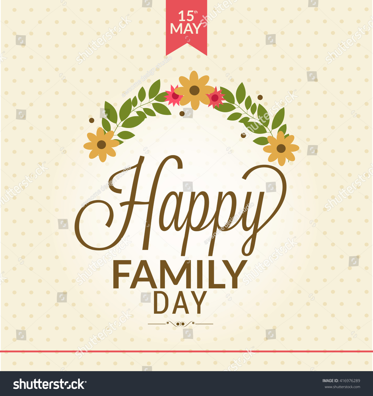 Beautiful Card Happy Family Day Stylish Stock Vector Royalty Free 416976289