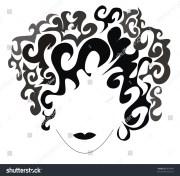 beautiful vector curly hair girl