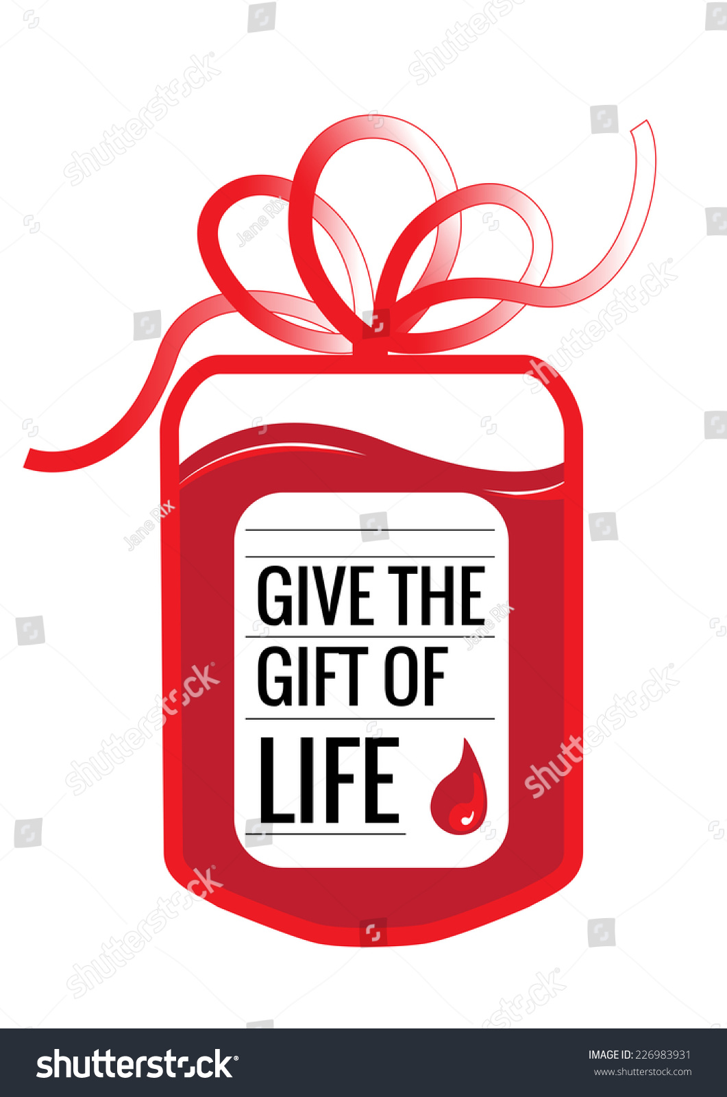 Blood Donation Bag Tube Shaped Gift Stock Vector 226983931