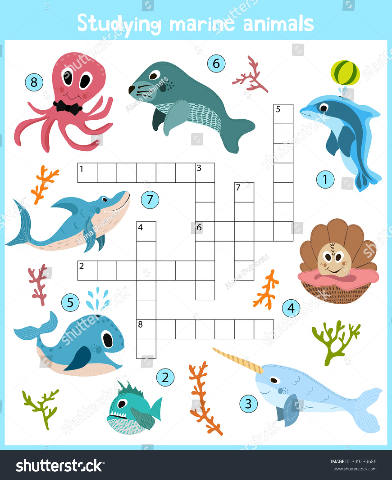 Colorful Childrens Cartoon Crossword Education Game Stock
