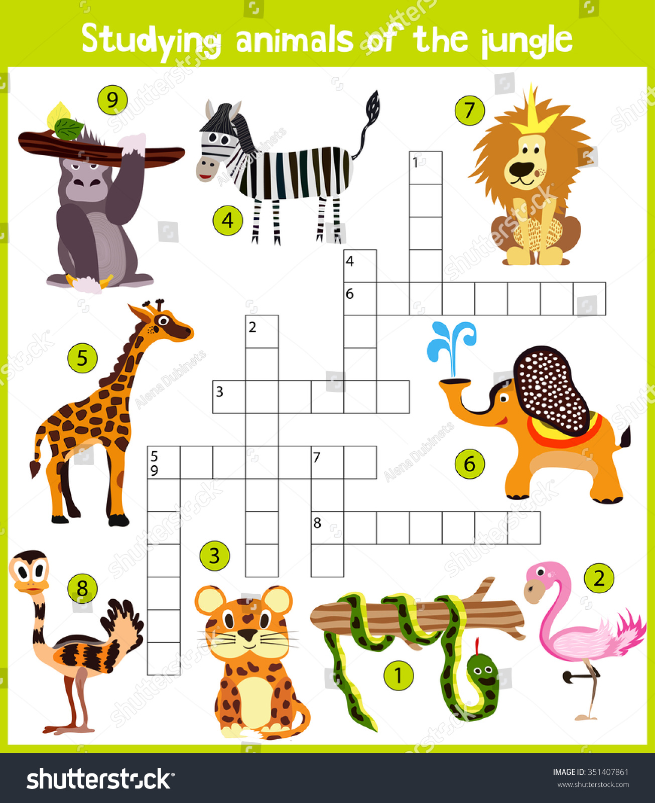 Colorful Childrens Cartoon Crossword Education Game Stock Vector