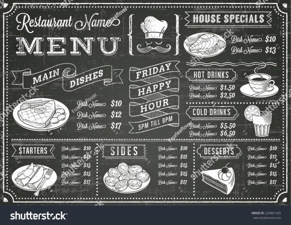 Full Vector Template Chalkboard Menu Restaurant Stock