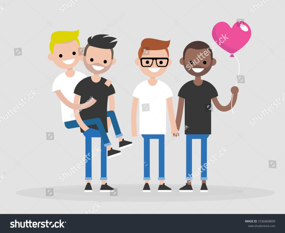 medium resolution of a group of gay friends young adult men couples lgbt flat editable vector