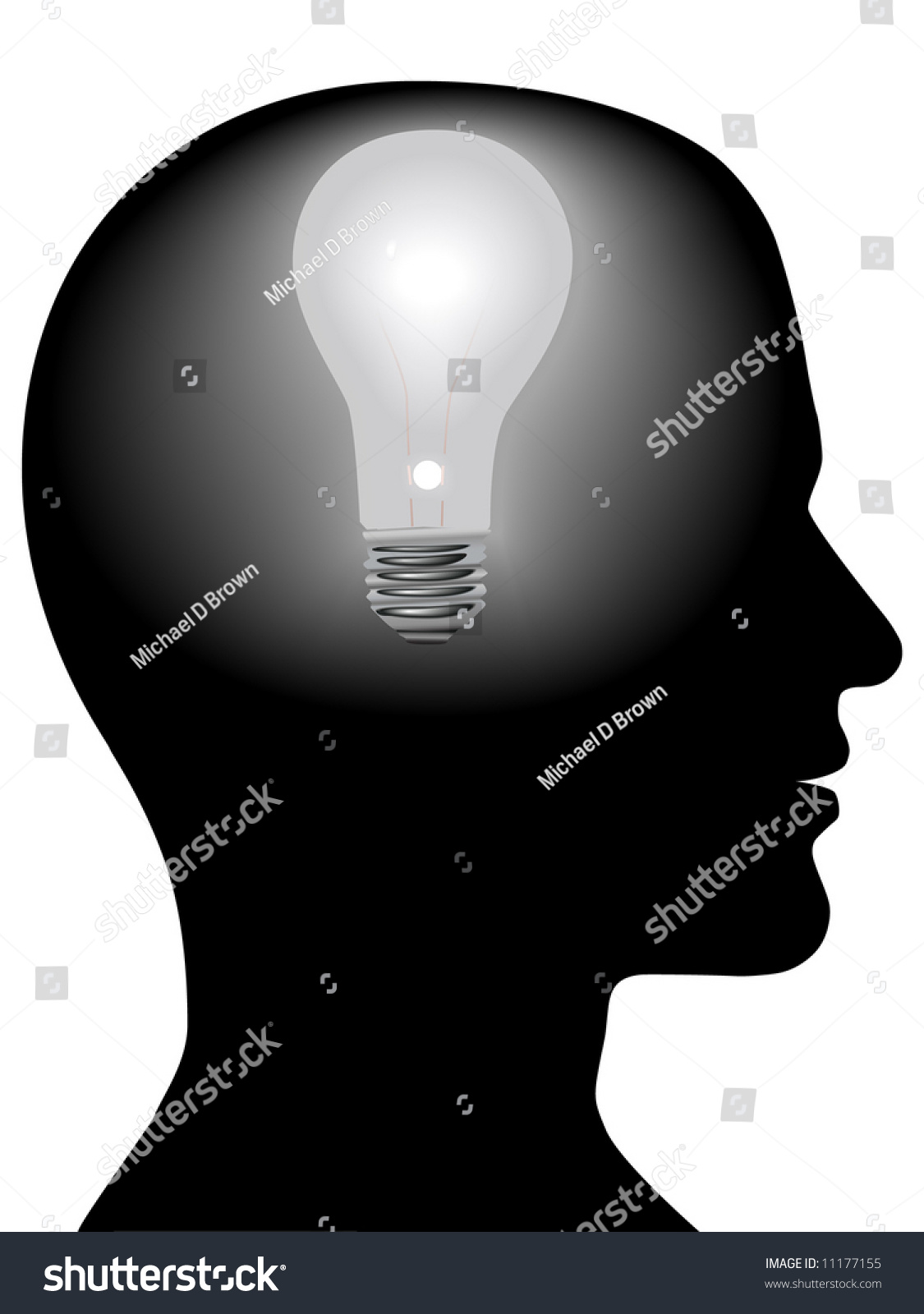 A Light Bulb Shines In The Head Of A Thinking Man Concept