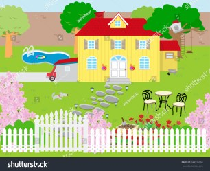 Picture Beautiful House Garden Stock Vector Royalty Free 343536569