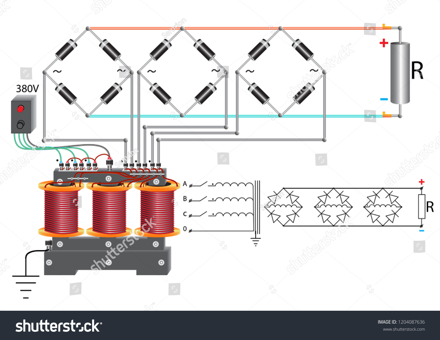 hight resolution of a power unit that uses a three phase step down voltage transformer a diode bridge and a rheostat to change the current in the electrical circuit