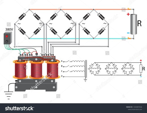 small resolution of a power unit that uses a three phase step down voltage transformer a diode bridge and a rheostat to change the current in the electrical circuit