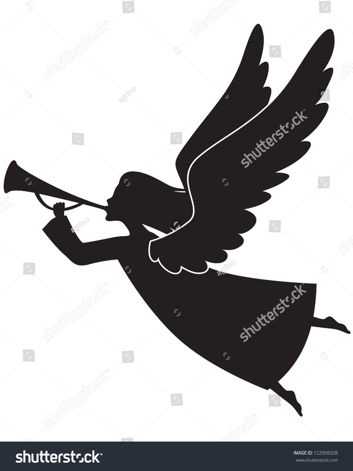 A Silhouette Of A Christmas Angel Blowing A Trumpet Stock