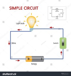 a simple circuit that consists of a battery switch and lightbulb [ 1488 x 1600 Pixel ]