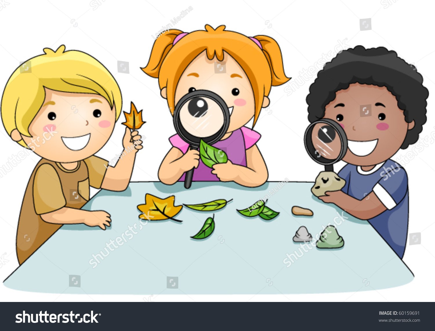 A Small Group Of Kids Inspecting Leaves Through Magnifying