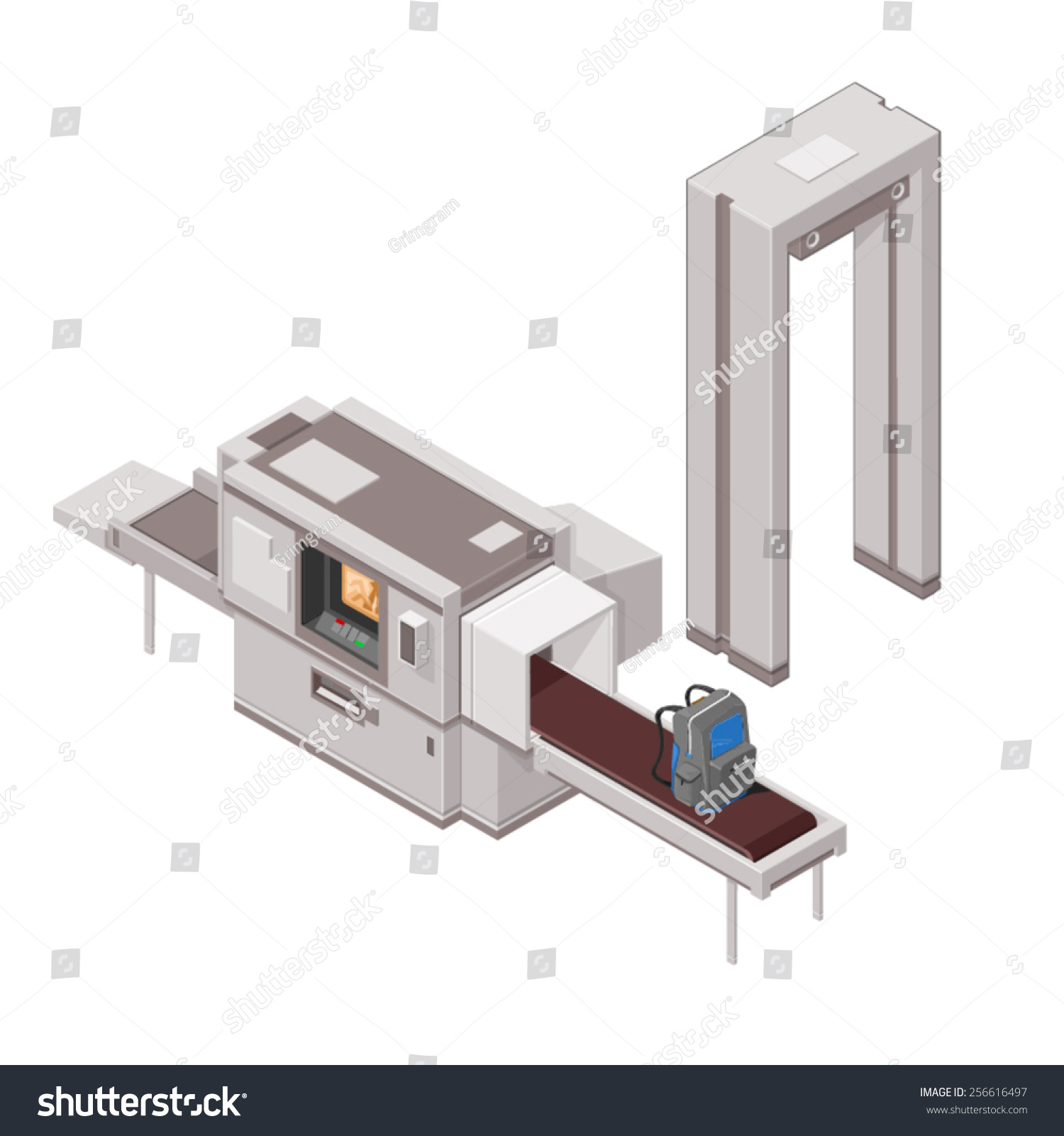 hight resolution of a vector illustration of airport security with luggage and x ray machine isometric airport