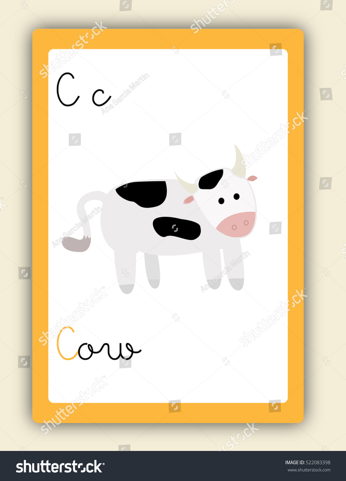 Abc Card Letter C Word Picture Stock Vector