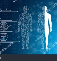 abstract background technology concept in blue light brain and human body heal technology modern [ 1500 x 922 Pixel ]