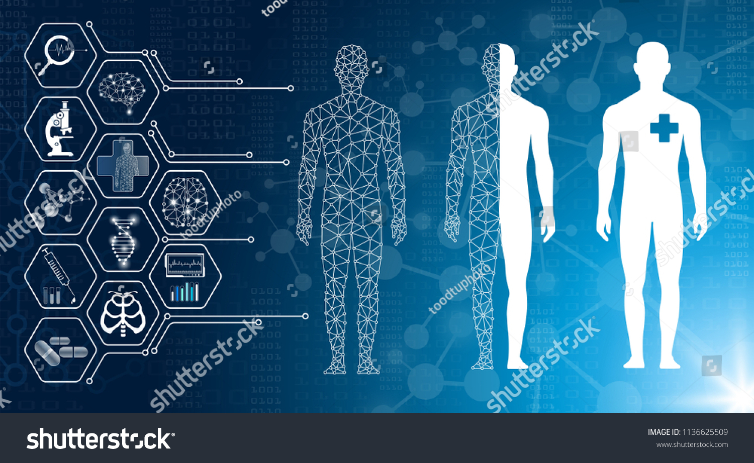 hight resolution of abstract background technology concept in blue light brain and human body heal technology modern