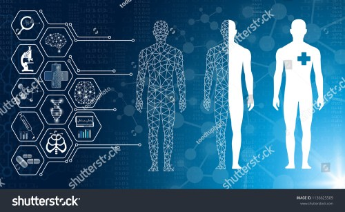 small resolution of abstract background technology concept in blue light brain and human body heal technology modern