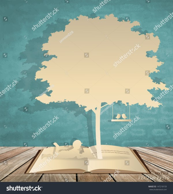 Abstract Background With Children Read Book Under Tree
