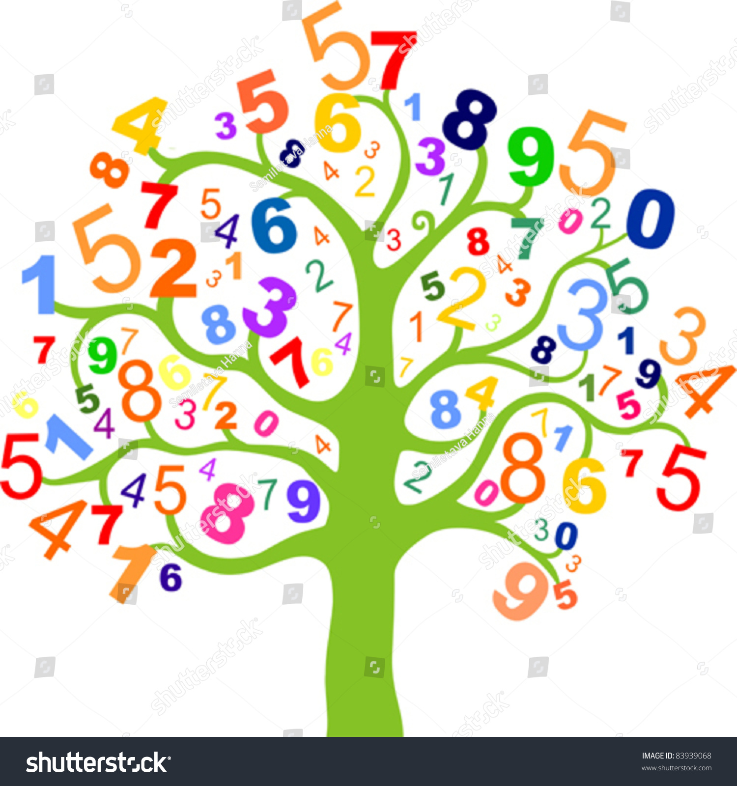 Abstract Colorful Tree With Numbers Isolated On White