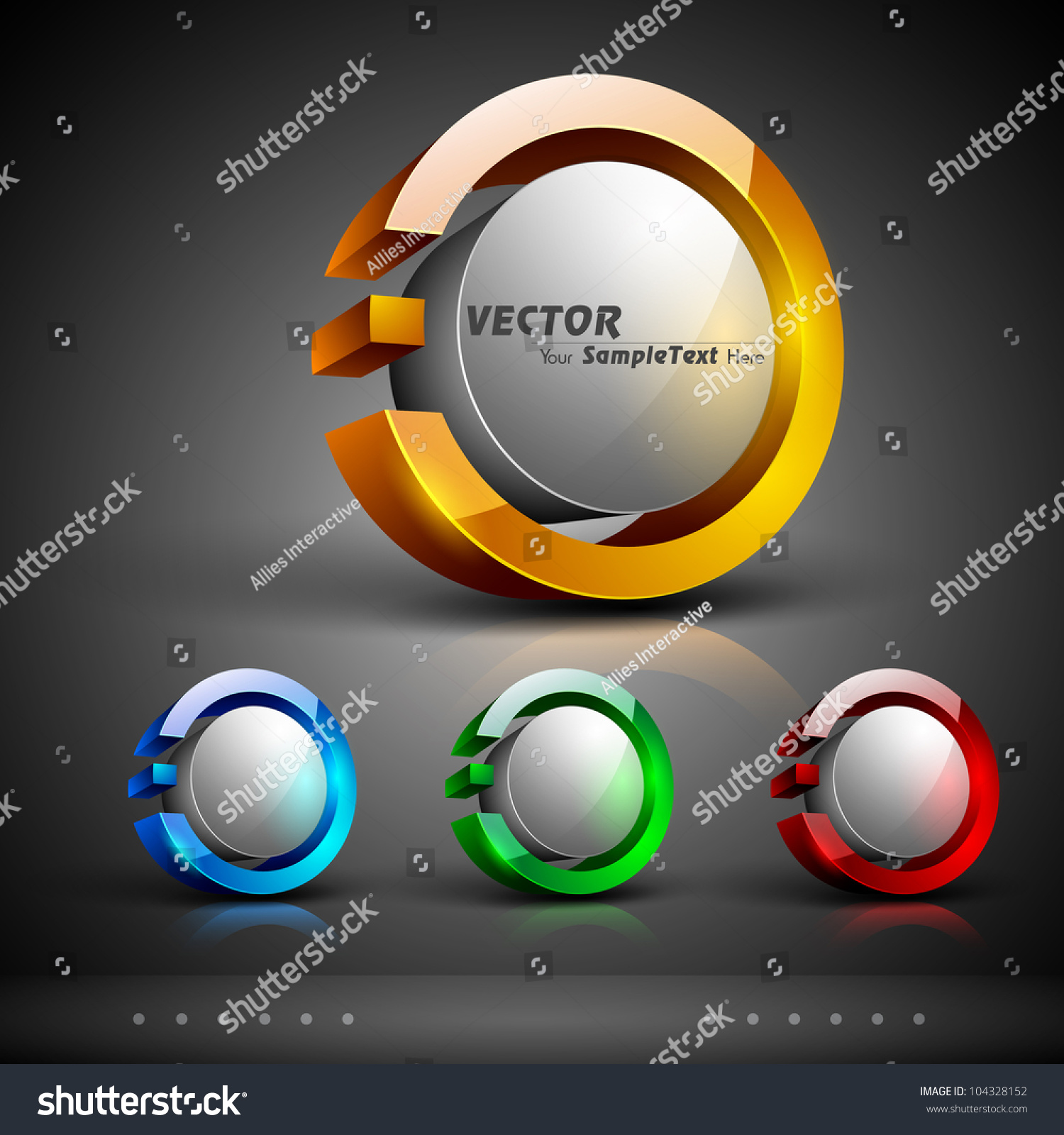 Abstract 3d Glossy Icon Sets Yellow Stock Vector