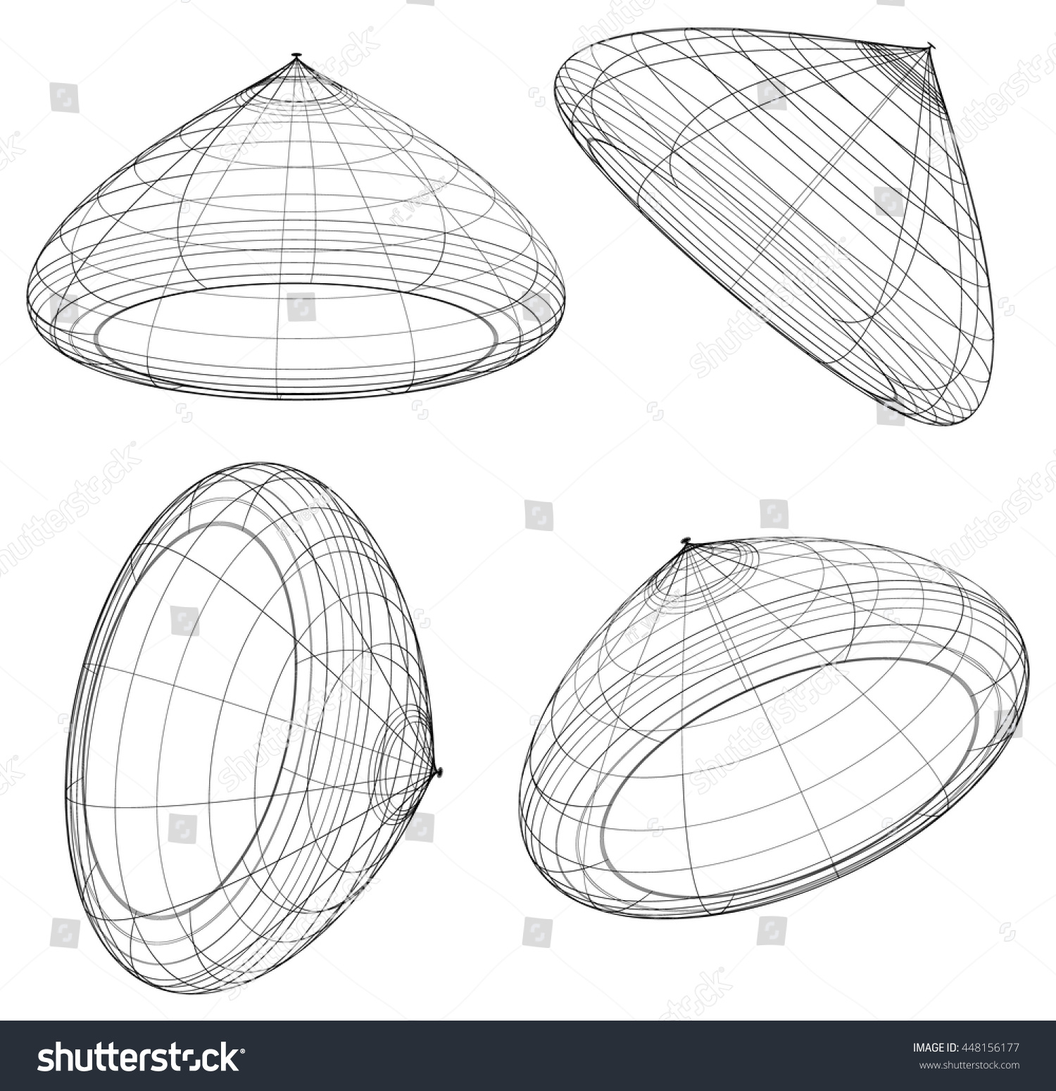 Abstract 3d Wireframe Objects 3d Spatial Stock Vector