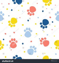 Abstract Dog Paw Seamless Pattern Background Stock Vector ...