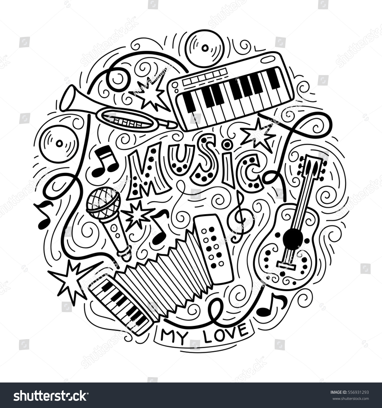 Abstract Music Background Collage Musical Instrumentshand