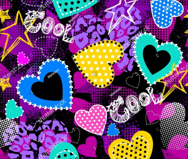 Abstract Seamless Pattern For Girls Creative Vector Background With Hearts Dots Waves In