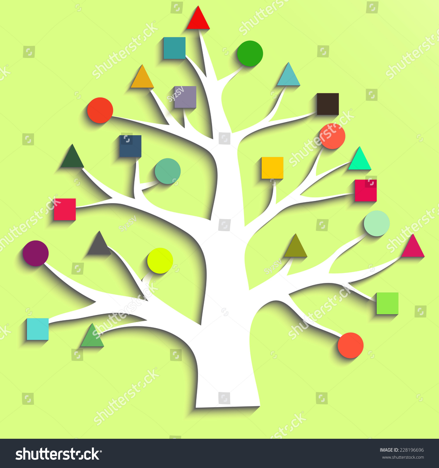 Abstract Tree With Colorful Leaves Of Geometric Shapes