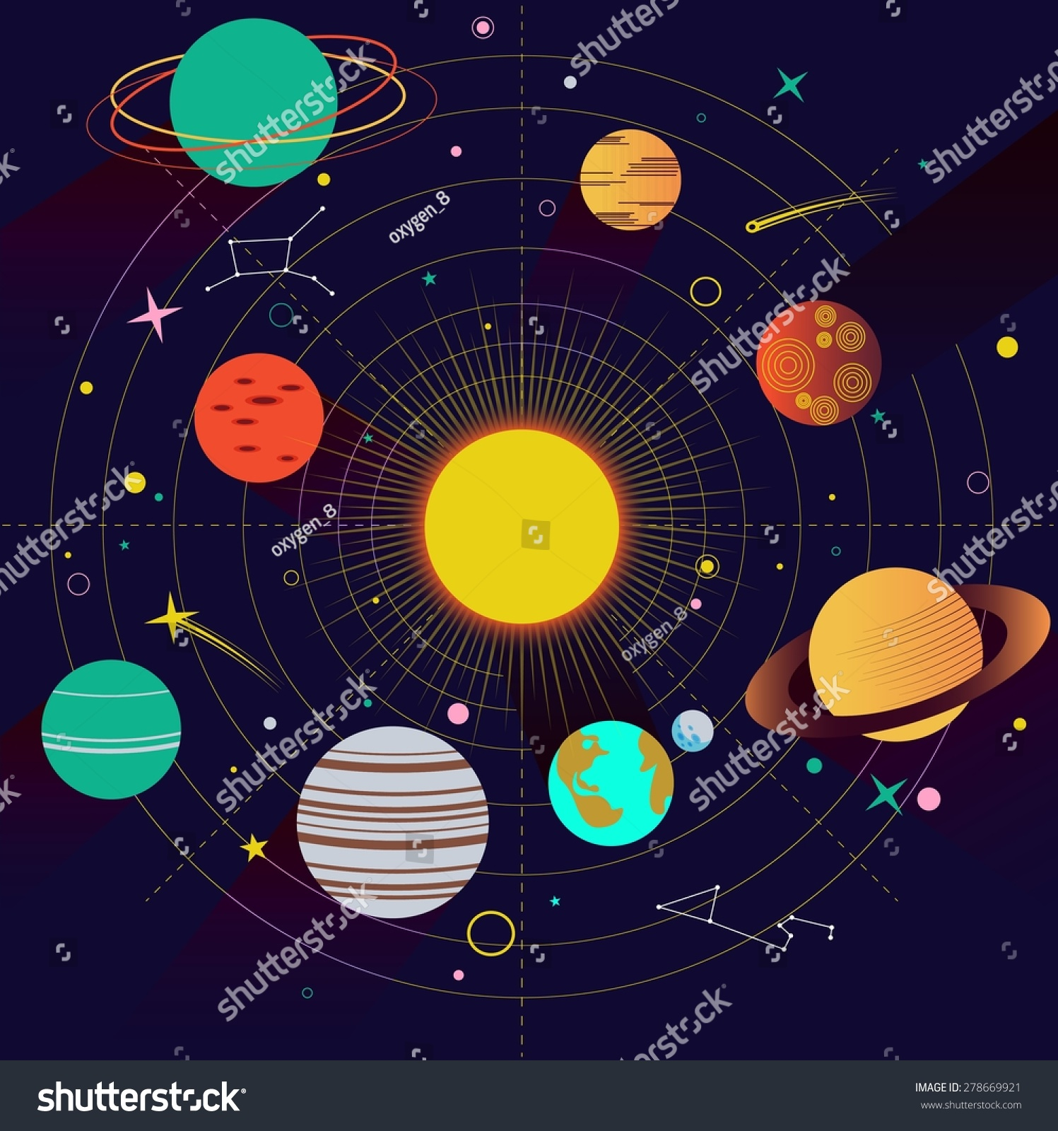 Abstract Universe Wallpaper Flat Design Style Stock Vector