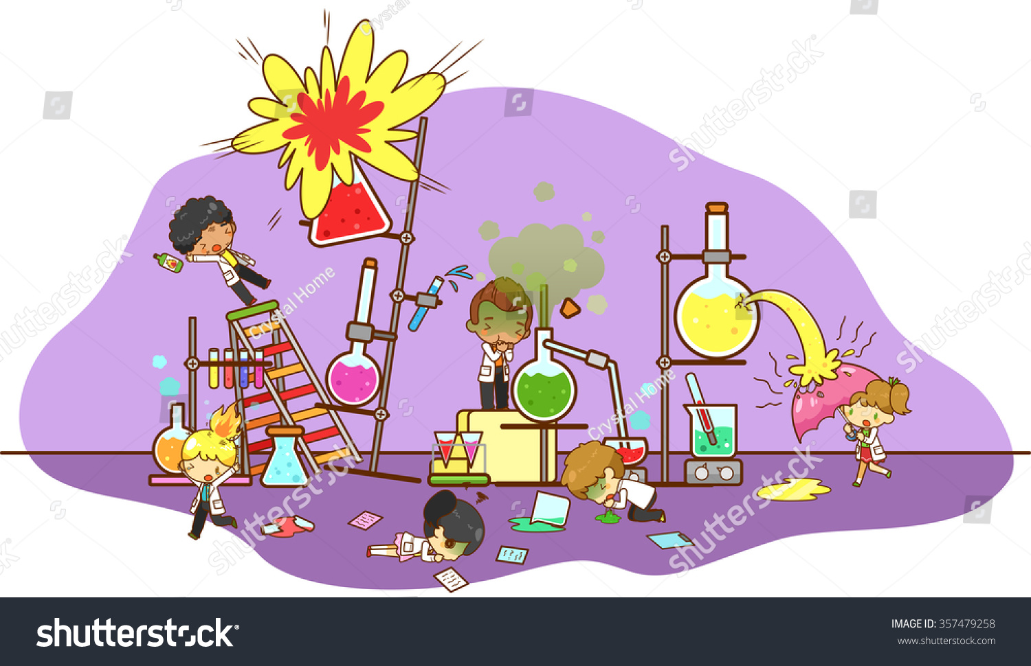 Accident Destruction While Kid Scientists Experimenting