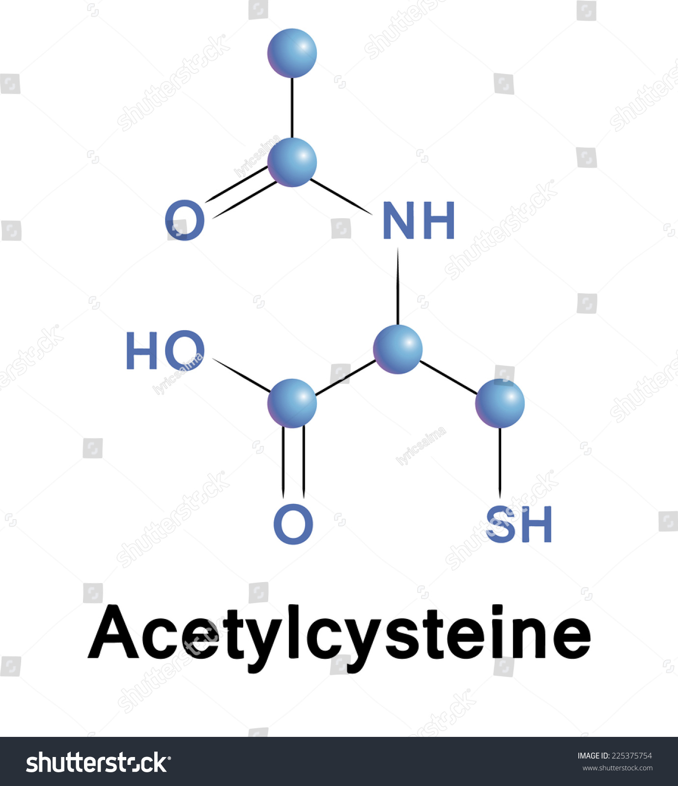 Acetylcysteine Chemical Formula Of Mucolytic For Cough And Cold. Vector. - 225375754 : Shutterstock