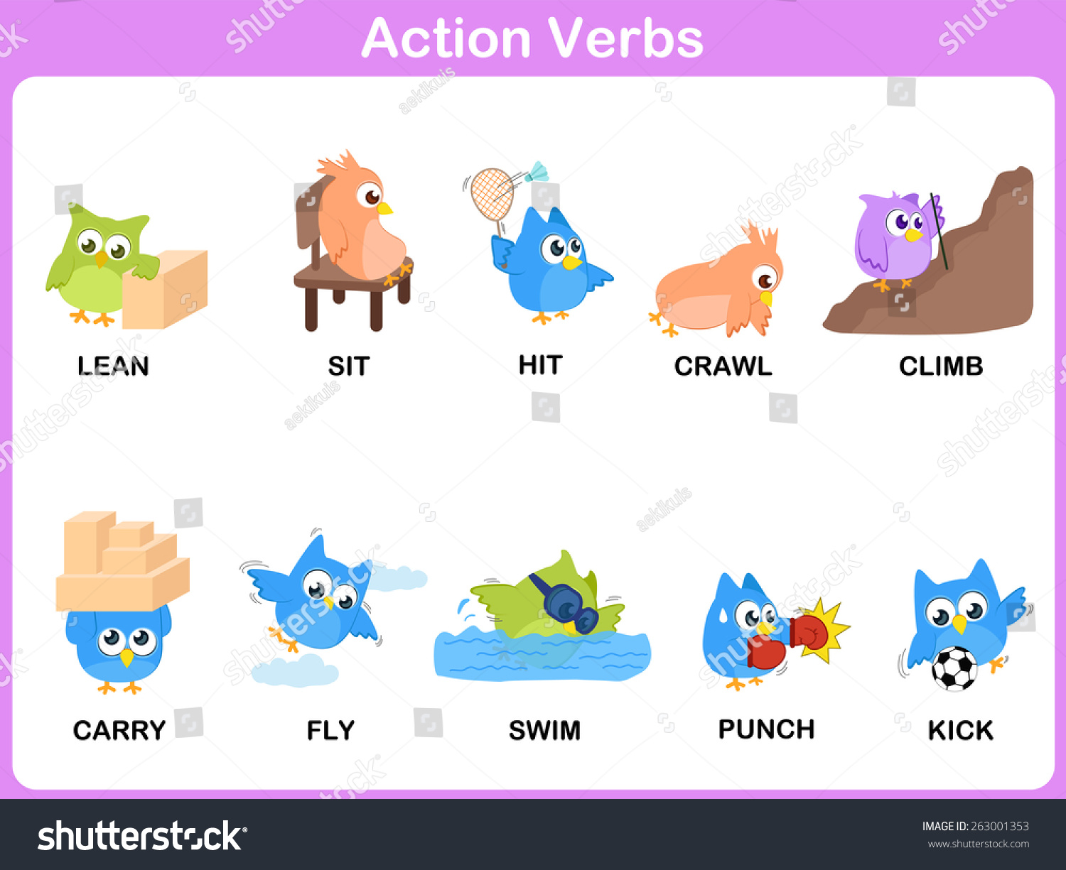 Action Verbs Picture Dictionary Activity Kids Stock Vector