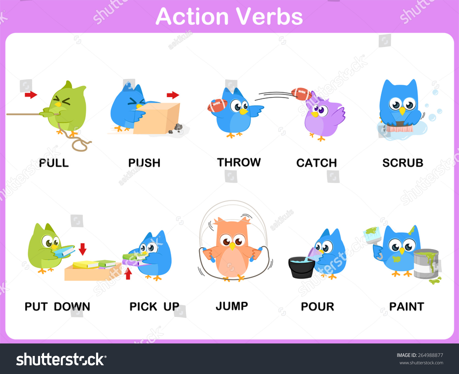 Action Verbs Picture Dictionary Activity For Kids Stock Vector Illustration