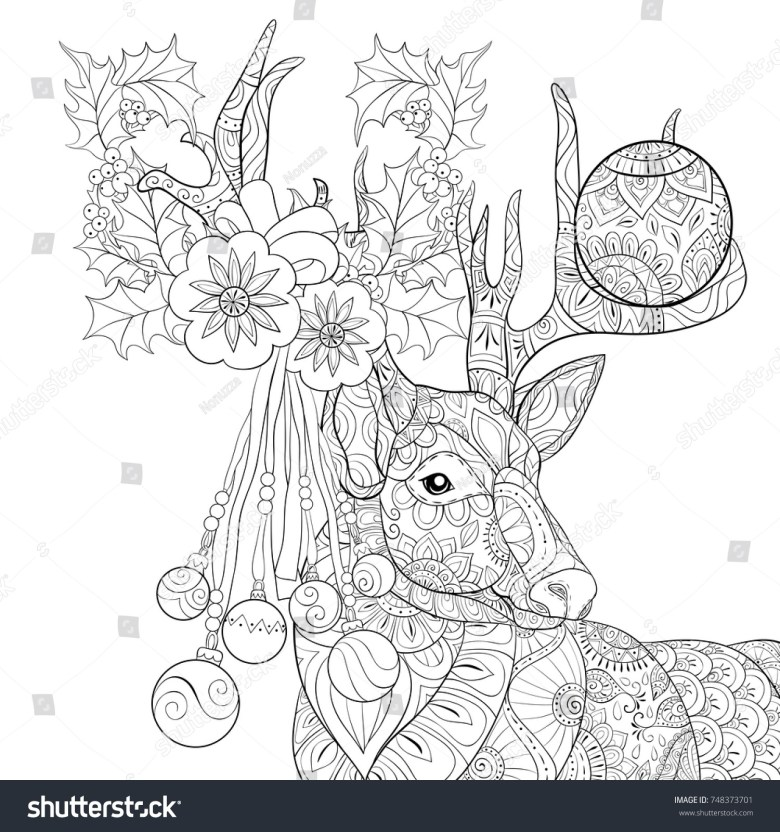 adult coloring pagebook christmas deer decoration stock vector