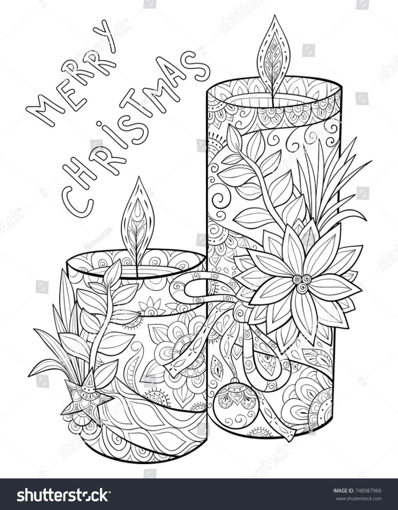 adult coloring pagebook cute candles flowersleaves stock vector