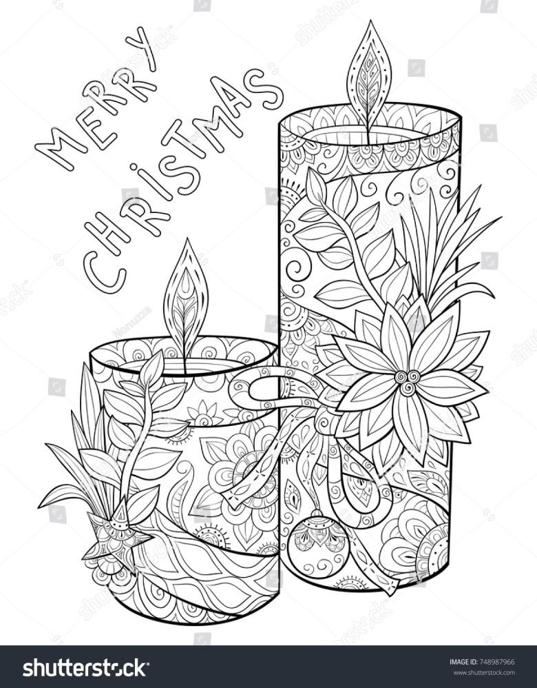 adult coloring pagebook cute candles flowersleaves stock vector