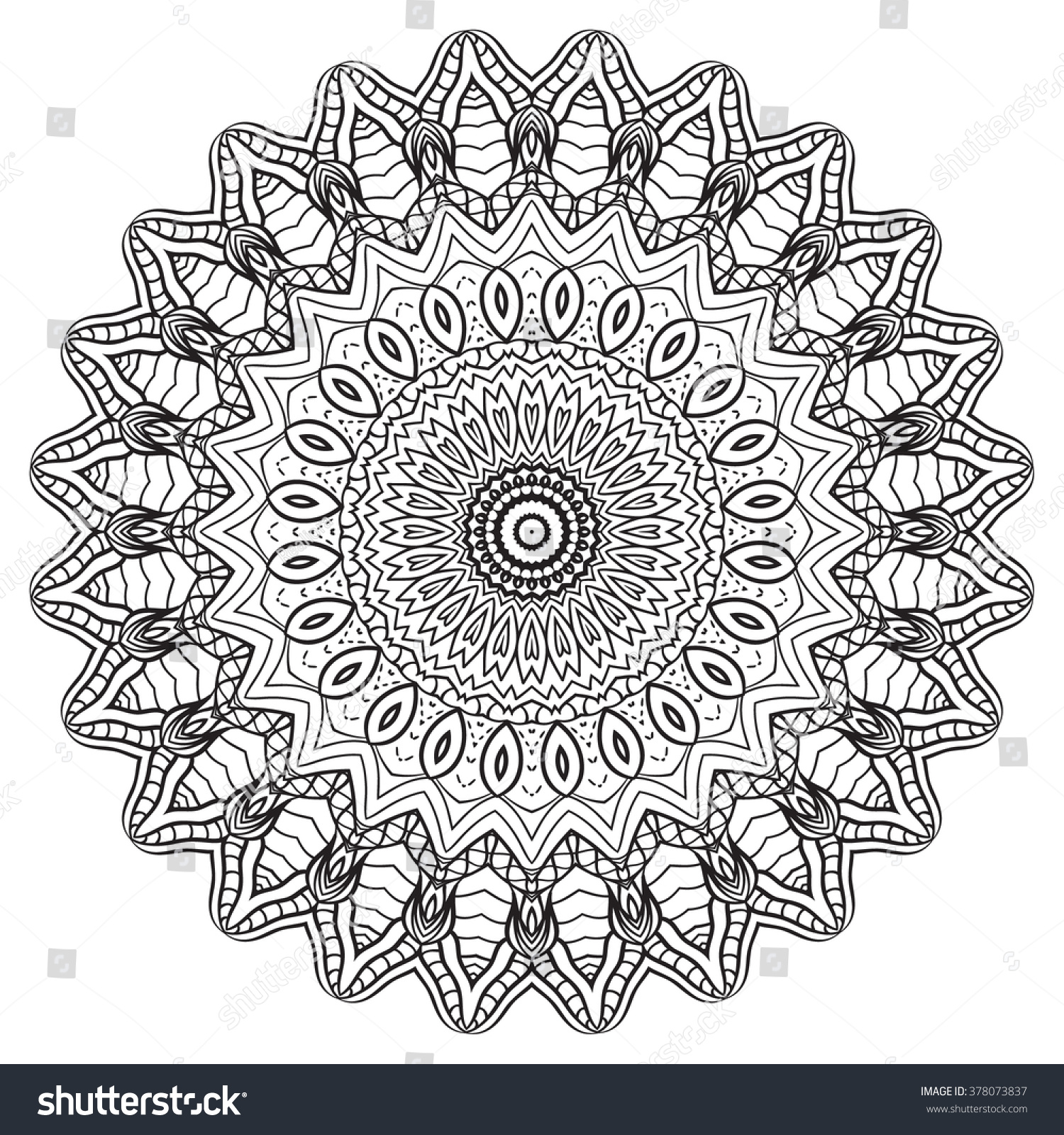 Adult Coloring Page Mandala Vector Art Stock Vector 378073837