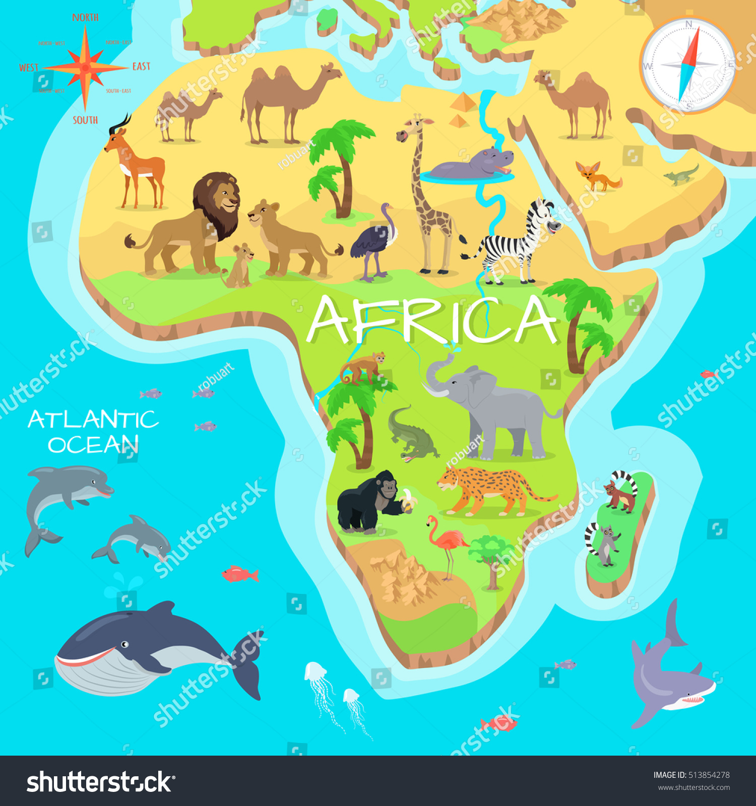 Africa Mainland Cartoon Map Local Fauna Stock Vector