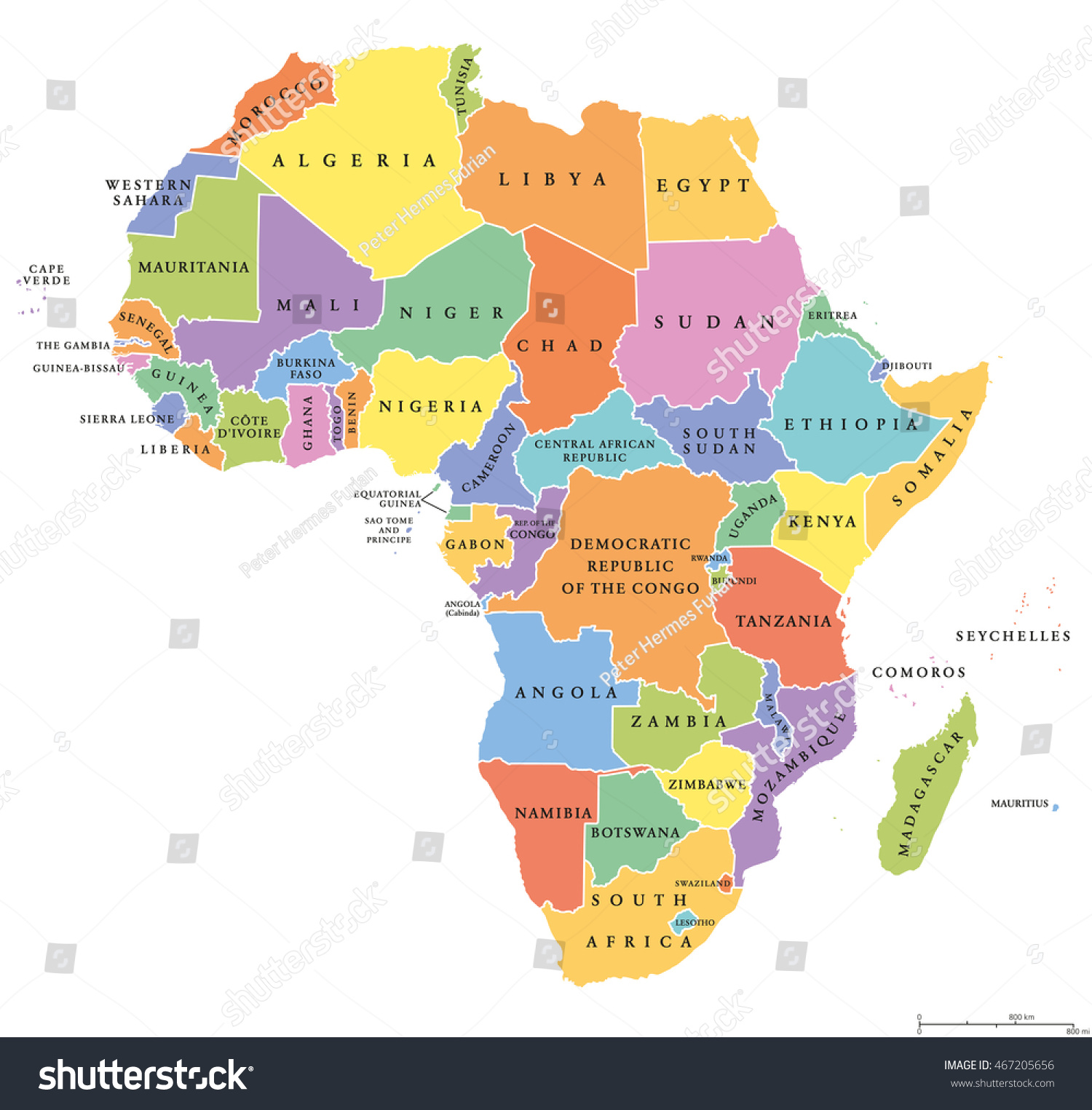 Africa Single States Political Map Each Stock Vector