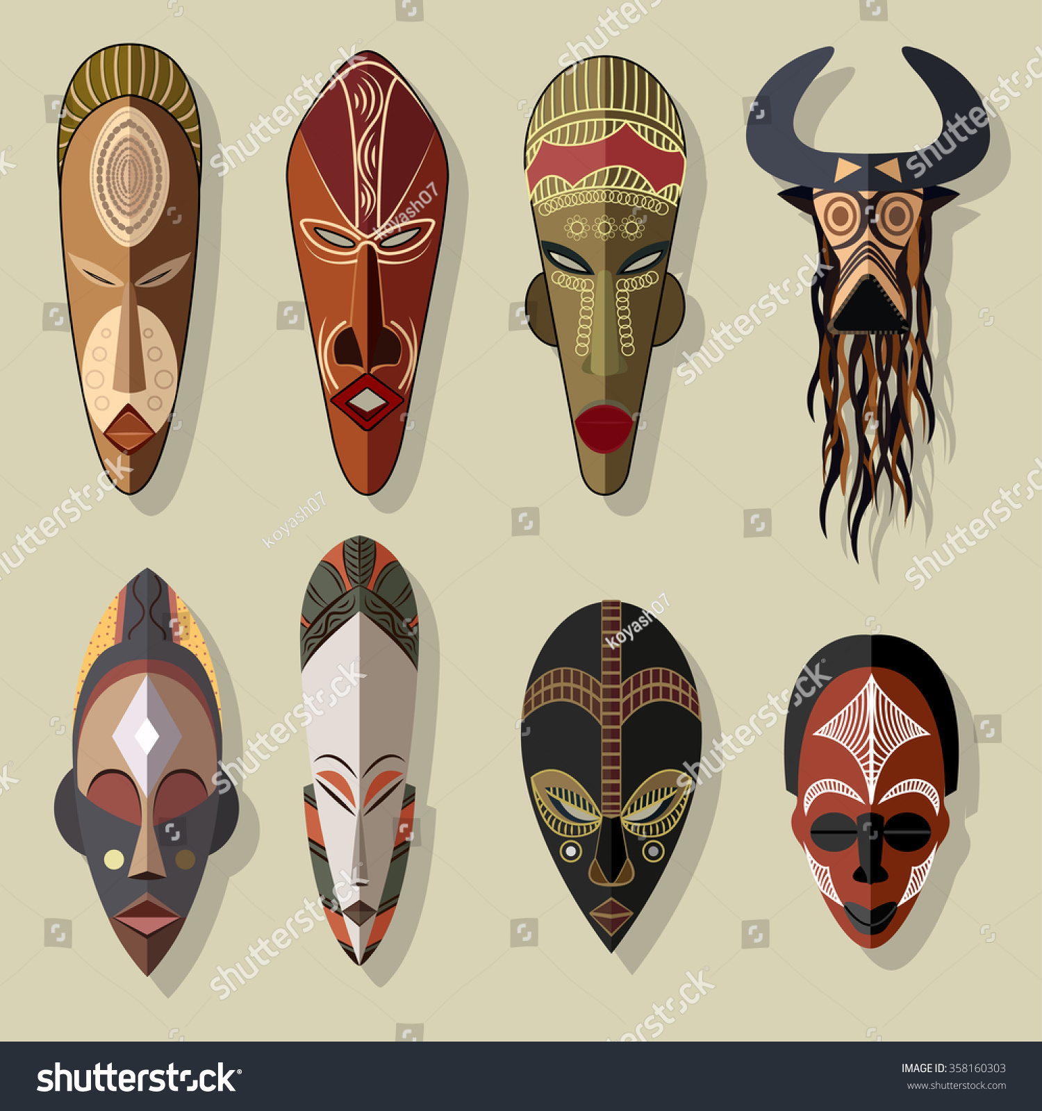 African Mask Designs Drawings