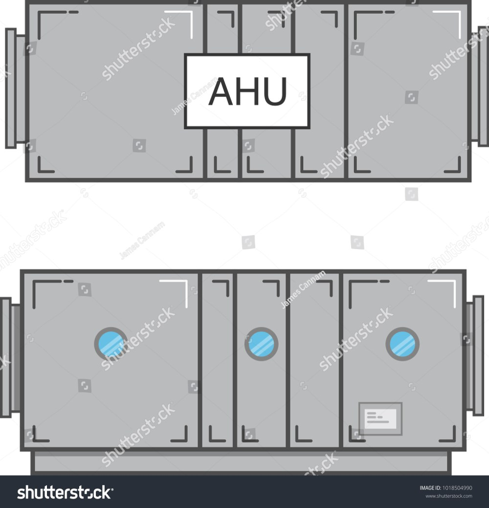 medium resolution of air handling unit plan view and section view flat vector illustration isolated on white background