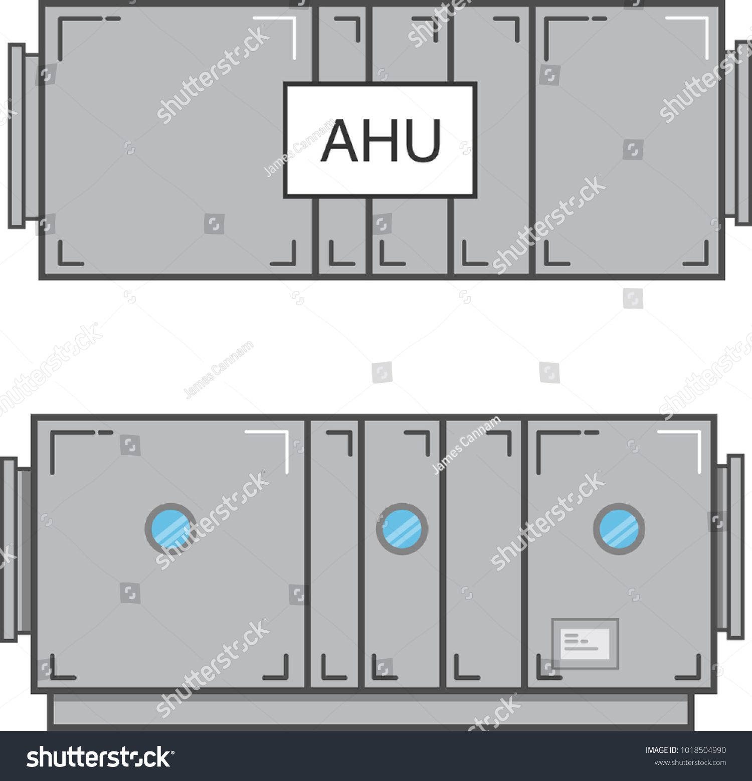 hight resolution of air handling unit plan view and section view flat vector illustration isolated on white background