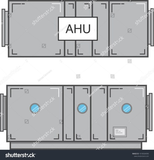 small resolution of air handling unit plan view and section view flat vector illustration isolated on white background