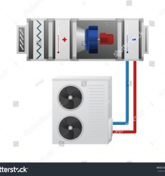 air handling unit with heating cooling unit recuperator and chiller vector illustration hvac  [ 1500 x 1300 Pixel ]