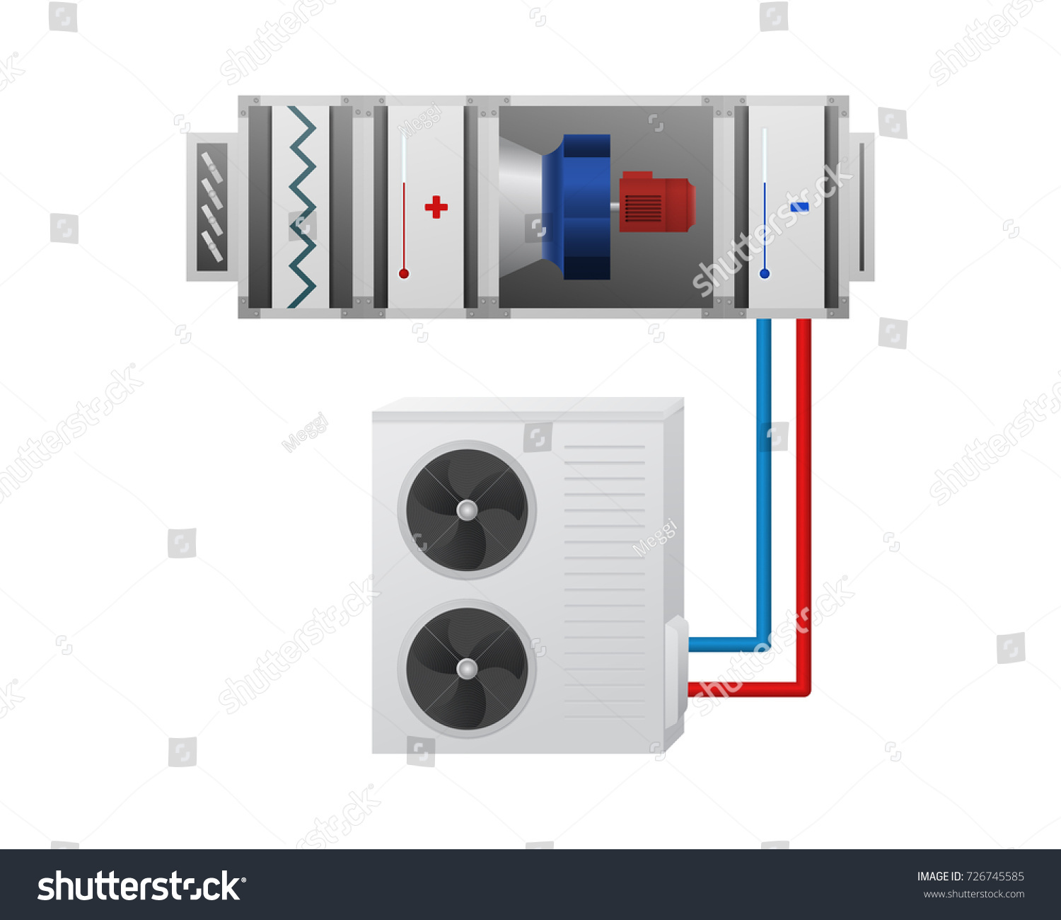 hight resolution of air handling unit with heating cooling unit recuperator and chiller vector illustration hvac