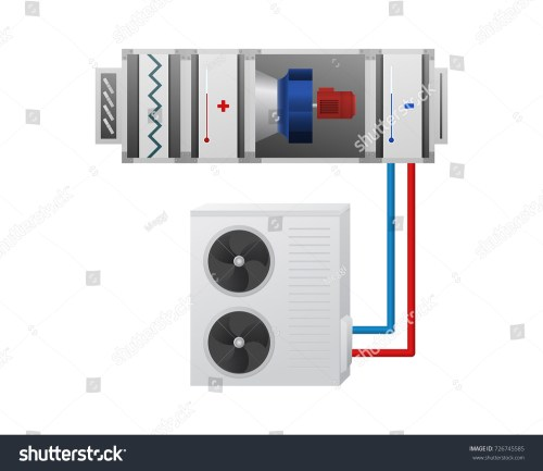 small resolution of air handling unit with heating cooling unit recuperator and chiller vector illustration hvac
